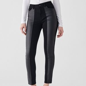 Farrow High-Rise Leather Panel Jeans NWT